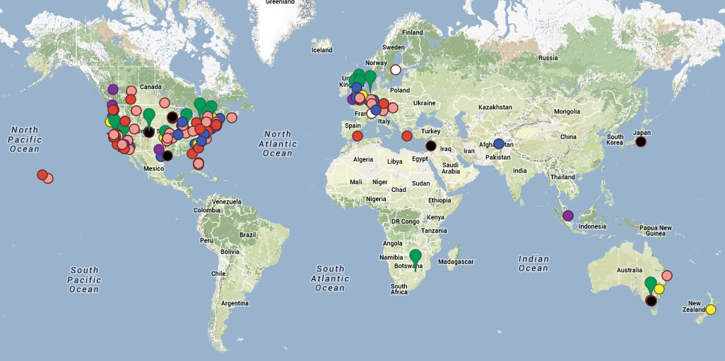World Map showing all ISS-Above locations after the Kickstarter
