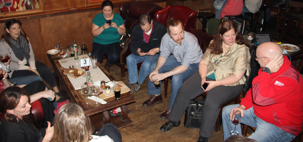 Astronaut Scott Kelly (far right) visiting Chelsea Wine Bar on Jan 15 2015 chatting with a #NASASocial group who had just attended the One Year Mission briefing at JSC